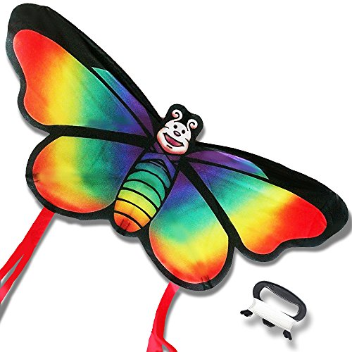 Regenbogen Schmetterling Drachen für Strand und Outdoor Fun-einfach zu montieren und starten Kite für (Pocket Trick Drei In Einem)