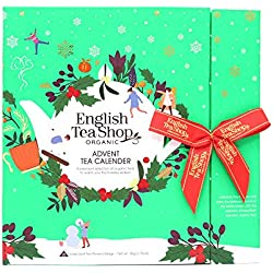 English Tea Shop Calendario de Adviento Surtido en 25 tés orgánicos con sabores navideños hechos en Sri Lanka - 1 x 25 filtros piramidales (50 gramos)