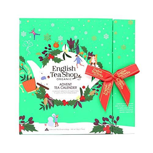 English Tea Shop Calendario dell'Avvento Assortito in 25 Tisane Biologiche ai Sapori del Natale Made in Sri Lanka - 1 x 25 Filtri Piramidali (50 Gram)
