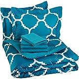 AmazonBasics 7-Piece Bedsheet Set - Full/Queen (Teal Trellis, Includes 1 bedsheet, 1 Comforter, 4 Pillowcases, 1 Fitted Sheet)