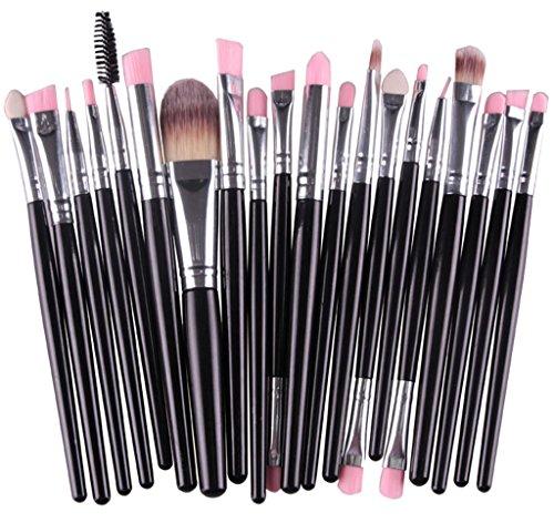Bigood Lot de 20Pcs Pinceau Brosses Maquillage Professionnel Cosmétique Beauté