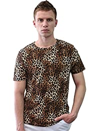 Allegra K Men Short Sleeve Round Neck Leopard Print T Shirt