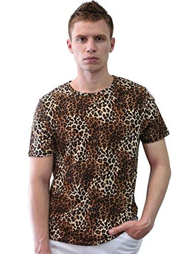uxcell Allegra K Herren Stilvoll Rundhalsausschnitt Kurz Ärmel Leopard Druck Hemd, Braun/S (EU 46) (Leopard Stilvolle)