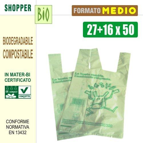 CONFEZ. 500 PEZZI SHOPPERS BIODEGRADABILI COMPOSTABILI NORMA DI LEGGE EN13432 - CM 27+16x50