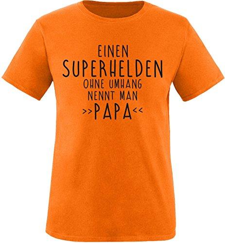 EZYshirt® Einen Superhelden ohne Umhang nennt man Papa Herren Rundhals T-Shirt Orange/Schwarz