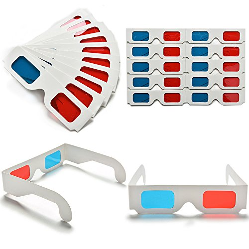 10pcs Universal Anaglyphen Pappe Papier Rot Blau Cyan 3D Brille für Film EF