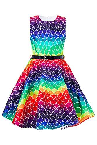 Funnycokid Mädchen Ärmellose Vintage Kleider Kinder Party A-Line Kleid mit Gürtel für Geburtstagsbankett Kirche