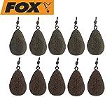 Fox Bleie Flat Pear Leads Karpfenbleie Wirbelbleie 10 Bleie, Festbleimontage, Karpfenangeln, Birnenblei, Gewicht:85g