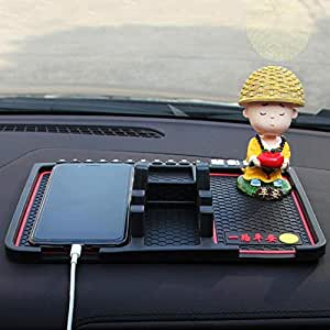 HSR Multifunction Car Dashboard Phone GPS Holder Anti-Slip Silicone Pad and Car Mobile Holders for Dashboard (Phone Area Size 16cm)