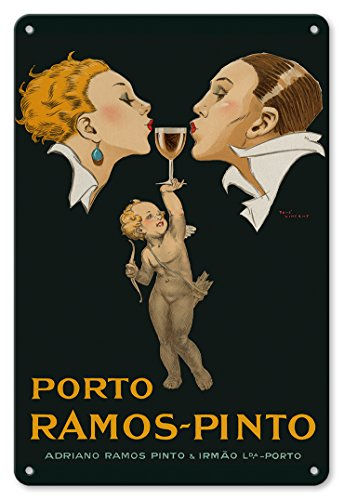 22cm x 30cm Vintage Metallschild - Porto Ramos-Pinto - Küssendes Art-Deco Paar - Cupido hält ein...