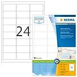Herma 4645 Premium Adressetiketten (63,5 x 33,9 mm) weiß, 2.400 Adressaufkleber 100 Blatt A4 Papier matt, bedruckbar, selbstklebend