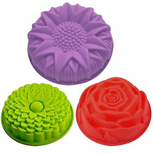 Juego de 3 moldes de silicona para tartas, diseño de flores, redondos, grandes,...