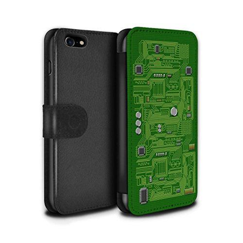 Stuff4 Coque/Etui/Housse Cuir PU Case/Cover pour Apple iPhone 7 / Rouge Design / Circuit Board Collection Vert