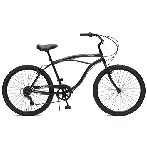 Critical Cycles Herren Chatham Men's Seven Speed, Matte Black w/White Beach Cruiser, Matte Graphite w/ White, One Size