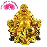 Reiki Crystal Products Porcelain Laughing Buddha on Chair with Ingot and Coin (Multicolour, 6.5x7x6.5cm)