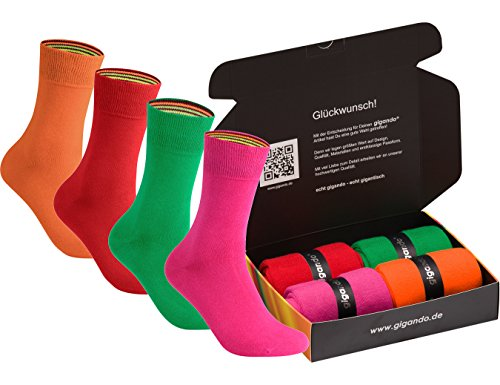 gigando | colorful Baumwoll-Socken | kräftige Farben für Damen und Herren | Hand gekettelt | extra feines Maschenbild | trendige unifarbene Strümpfe | 4 Paar | rot, grün, rosa, orange | 39-42 | (Polyester Feine Super)