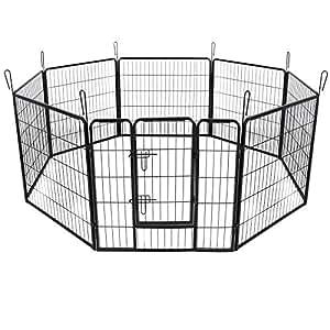Songmics Recinzione Recinto per Cani Conigli Animali di Ferro L 80 x 80 cm nero PPK88H