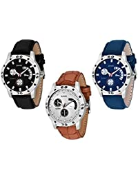 ZAVIO Black & Blue & White Colored Round Dial Stylish Analog Watches Combo Set Watches For Men/Watches For Boys