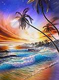 HOHOME 5D Diamant Gemälde Full Bohrer Kreuzstich DIY Handgefertigt Stickpackung Kunstharz Strasssteine eingefügt Mosaik für Home Dekoration mit Aufbewahrungsbox–Coconut Baum Landschaft