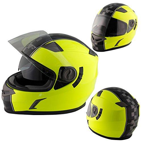 A-pro casco integrale moto scooter touring visiera interna parasole viaggio fluo m