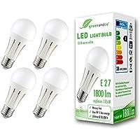 [Sponsorizzato]4x Lampadina a LED greenandco® E27 18W (equivalente a 115W) 1800lm 3000K (bianco caldo) 270° 230V AC, nessun sfarfallio, non dimmerabile