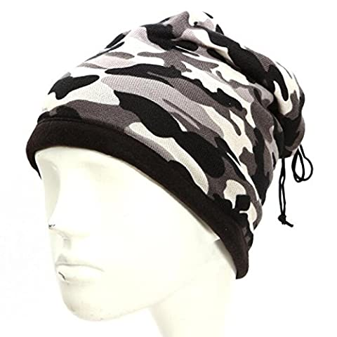 Ezyoutdoor Unisex Ultimate Thermal Retention Multipurpose Fleece Neck Warmer Scarf Adjustable Beanie Hat Sport Neck Warmers Snood Scarf Hat (Gray Camouflage)