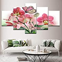 KQURNXSL Decor For living room wall art modern prints 5 pieces Pink Flower Butterfly paintings art Modular frame canvas pictures