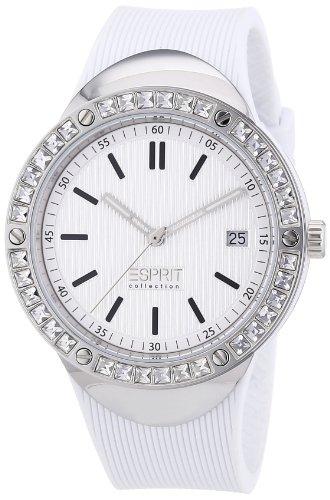 Esprit EL101982F02 - Reloj analógico de cuarzo para mujer con correa de silicona, color blanco