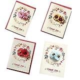 Packung mit 4 [Dankeschön] Thanksgiving Day Grußkarten mit Papier Blume