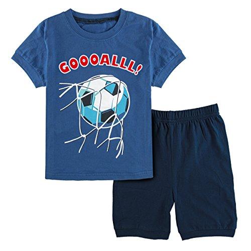 (Mombebe Schlafanzug Jungen Kurz Fußball Pyjamas Set Sommer Nachtwäsche Kurzarm (Fußball, 3 Jahre))