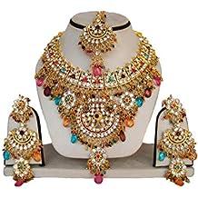 Fkraft Parure Bijoux Indiens Bollywood Mariage Oriental Bleu Vert et doré e0cec5112573