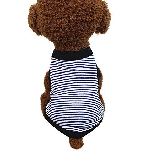 Hawkimin haustierkleidung kleine Hunde Sommer Hundebekleidung Baumwolle Streifen Weste Puppy Kostüm für kleine, mittlere und große (Flamingo Kostüm Männlich)