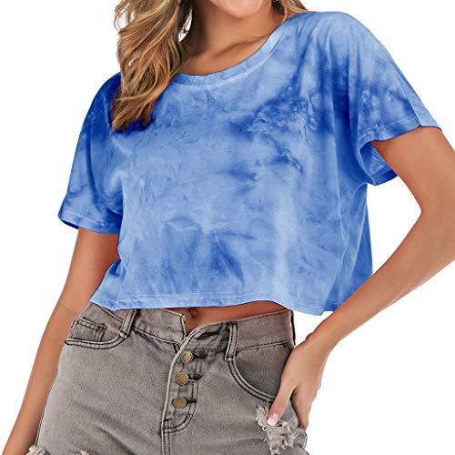 TAMALLU Damen T-Shirt Mode Farbverlauf Tie-Dye Print Kurzarm O-Neck Frauen Tee(Blau,XL)