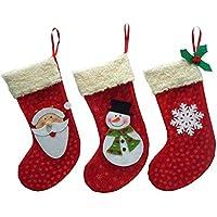 prettygood7 - Juego de Calcetines navideños (3 Unidades), diseño de Papá Noel