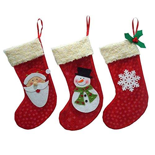 Demiawaking 3Pcs Weihnachten Weihnachtsstrümpfe Socken für Zuckerbeutel Geschenk, Weihnachtsbaum Dekor, Weihnachten Party Dekoration, Geschirr Besteckbeutel Dekor