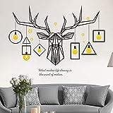 XCGZ Stickers muraux Tête de cerf Ligne géométrique éclairage Peinture décorative