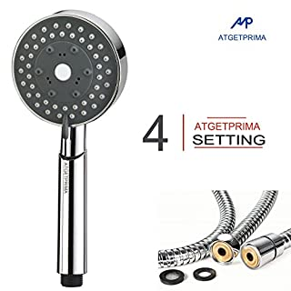 ATGETPRIMA 4 Function Handheld Shower Head with 1.5-Meter Long Hose and Holder Bracket Replacement Hand Shower for Bathroom Showering System, Chrome Plating , A58C