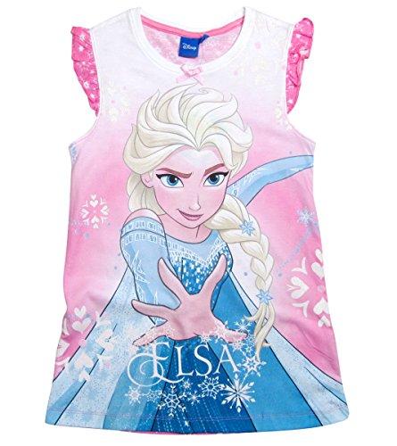 17 Nachthemd Die Eiskönigin 98 104 110 116 122 128 Neu Nachtkleid Nachtrobe Disney Elsa Rosa (122 - 128, Rosa) (Mädchen-prinzessin-nachthemd)