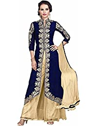 Purva Art Womens Latest Embroidered Velvet Kotty Navy Blue Party Wear Salwar Suit (6524_PA_Navy Blue_Butti Work_Semi-Stitched)