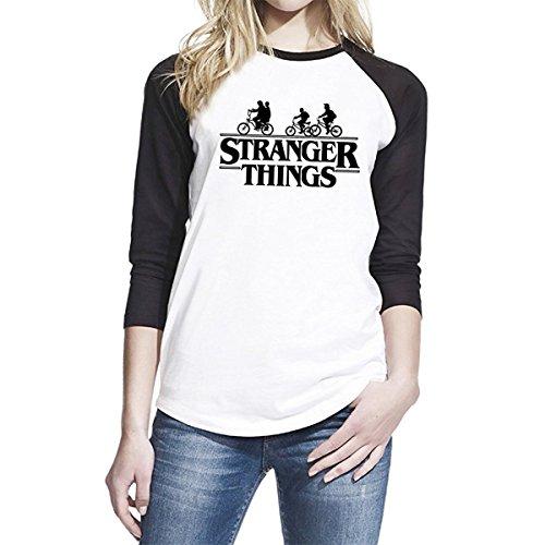 1/4 MILE KULT CLOTHING Damen Baseball 3/4 Ärmel T-Shirt Stranger Things Inspiriert Bikes in The Woods (2XL, Weiß) (Baseball-t-shirt Bella)