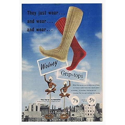 1 - Wolsey calcetines de la vieja escuela comercial Retro con carteles para fotos de tamaño A3