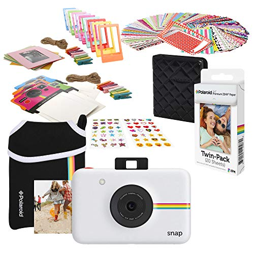 Polaroid Snap Instant Digitalkamera Starter-Set mit Neopren-Hülle, Weiß (Starter-digitalkamera)