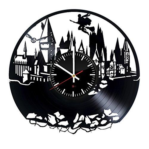 Auf Zauberstäbe Potter Welt Harry (Magische Schule Entwurf Vinyl - Schallplatte Wanduhr – einzigartige Schlafzimmer Wanddeko – Geschenk Ideen für Jungen und Mädchen – Einzigartige Fantasie-Film - Kunst -)