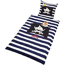 Bierbaum 001900 Captain Sharky 2174 - Juego de funda nórdica infantil con cremallera, Multicolor (Blanco/Azu), 135 x 200 cm/ 80 x 80 cm