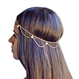Ukamshop glänzend Gold Metall Quasten Schmuckkette Stirnband Kopfschmuck Haarbänder
