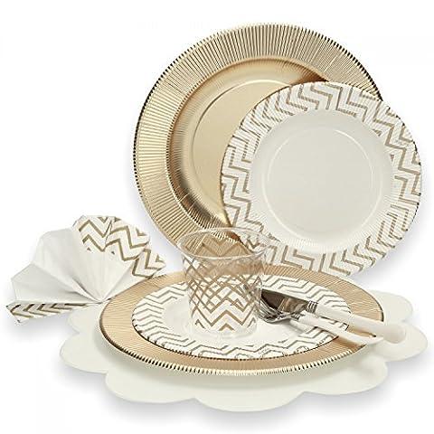 74-tlg. Einweggeschirr Party-Set mit goldenem Zickzack-Muster für 8 Personen, bestehend aus Papptellern, Servietten, Bechern und Besteck für festliche Anlässe,