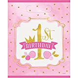 Pink and Gold Girls 1st Birthday Party Bags, Pack of 8