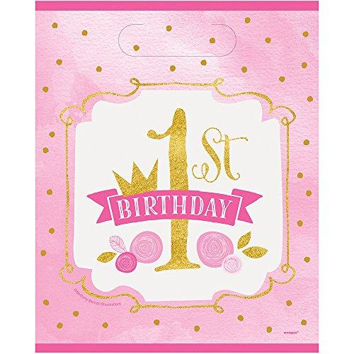 Unique Party 58163Rosa und Gold Mädchen 1. Geburtstag Staubbeutel (8Stück)