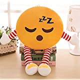 Skylofts Cute 32cm Romantic Stuffed Smiley Cushion Emoji Pillow Soft Toy With Legs And Hands (Sleeping)