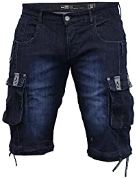 Hombre Denim Largo Hasta La Rodilla Bermudas Militares By Crosshatch - Lavado Oscuro - PLAYED, 42 Waist x Regular